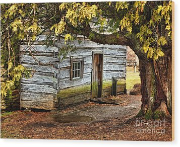 Blue Ridge Parkway - Mabry Mill Building In The Rain Wood Print by Dan Carmichael