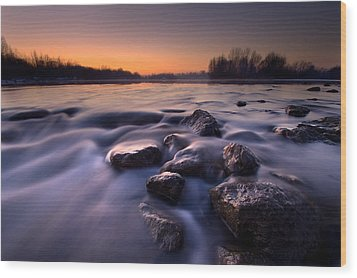Blue River Wood Print by Davorin Mance