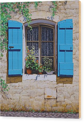 Blue Shutters Wood Print by Michael Swanson