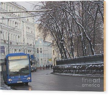 Blue Trolleybus Wood Print by Anna Yurasovsky