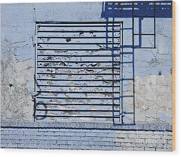 Blue Wall Wood Print by Sarah Loft