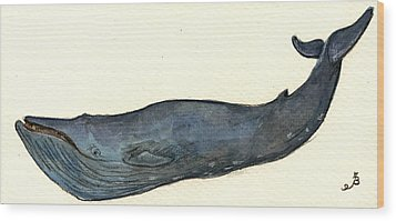 Blue Whale Wood Print by Juan  Bosco