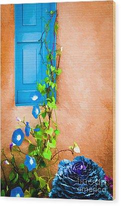 Blue Window - Painted Wood Print by Bob and Nancy Kendrick