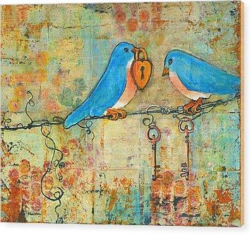 Bluebird Painting - Art Key To My Heart Wood Print by Blenda Studio