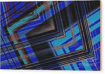 Bluish Geometric Design Wood Print by Mario Perez