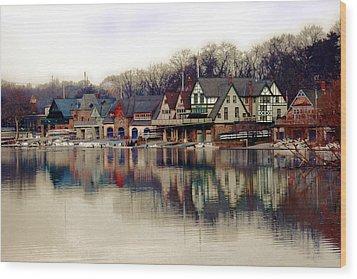 Boathouse Row Philadelphia Wood Print by Tom Gari Gallery-Three-Photography