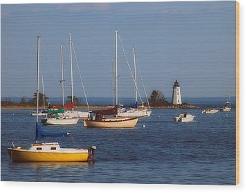 Boating On Long Island Sound Wood Print by Joann Vitali
