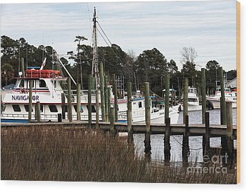 Boats At Little River Wood Print by John Rizzuto