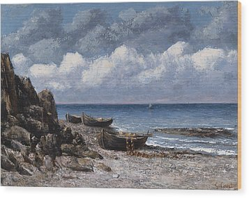 Boats At St Aubain Wood Print by Gustave Courbet