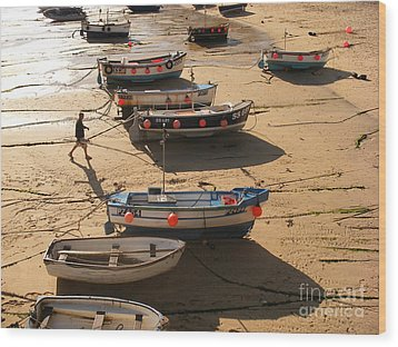 Boats On Beach Wood Print by Pixel  Chimp