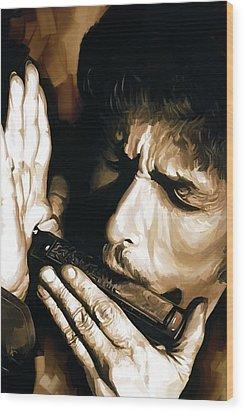 Bob Dylan Artwork 2 Wood Print by Sheraz A