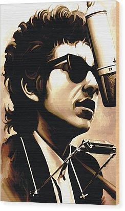 Bob Dylan Artwork 3 Wood Print by Sheraz A