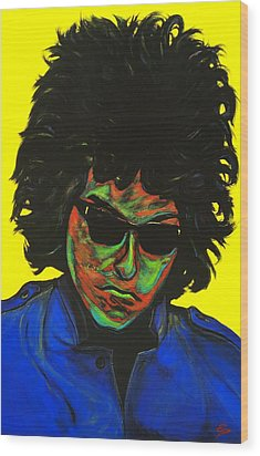 Bob Dylan Wood Print by Edward Pebworth