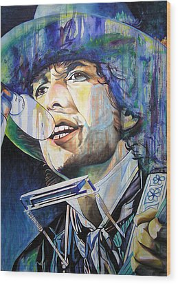 Bob Dylan Tangled Up In Blue Wood Print by Joshua Morton