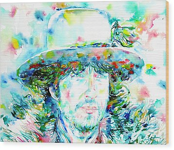 Bob Dylan - Watercolor Portrait.2 Wood Print by Fabrizio Cassetta