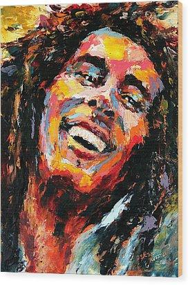 Bob Marley Wood Print by Derek Russell