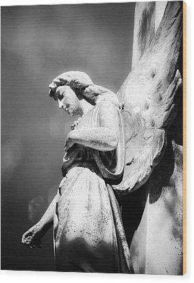 Bokeh Angel In Infrared Wood Print by Sonja Quintero