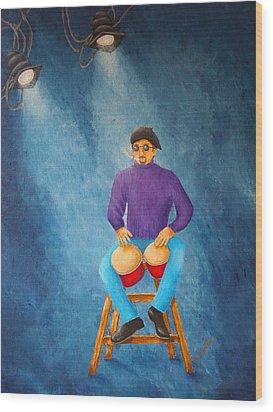 Bongo Man Wood Print by Pamela Allegretto