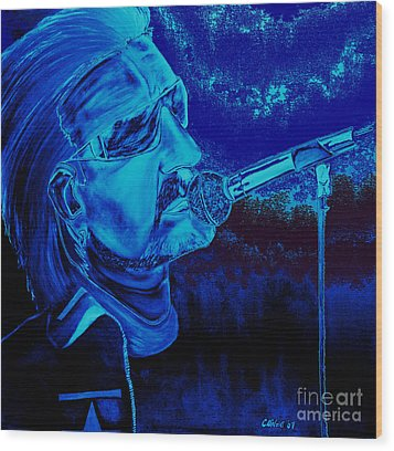 Bono In Blue Wood Print by Colin O neill