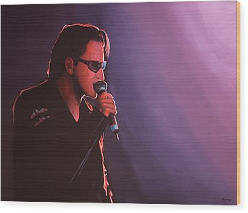 Bono U2 Wood Print by Paul Meijering