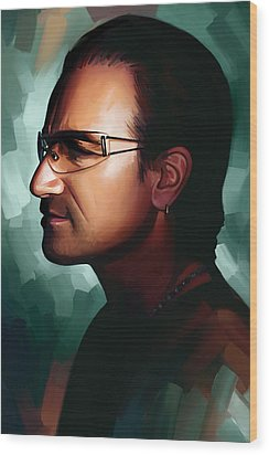 Bono U2 Artwork 1 Wood Print by Sheraz A