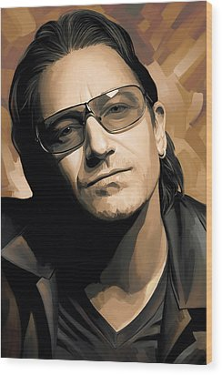 Bono U2 Artwork 2 Wood Print by Sheraz A