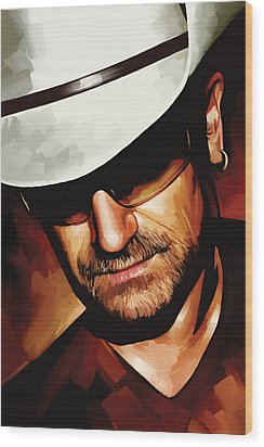 Bono U2 Artwork 3 Wood Print by Sheraz A