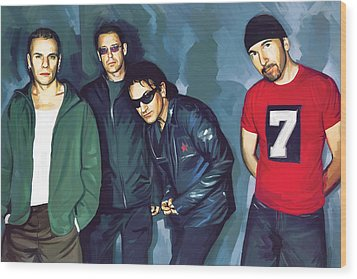 Bono U2 Artwork 5 Wood Print by Sheraz A