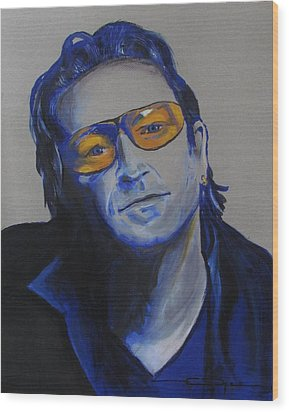 Bono U2 Wood Print by Eric Dee