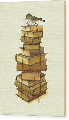 Books And Little Bird Wood Print by Kestutis Kasparavicius