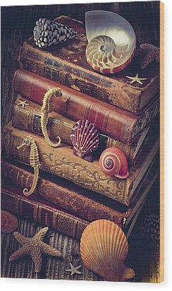 Books And Sea Shells Wood Print by Garry Gay
