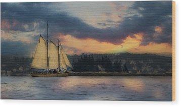 Boothbay Harbor Schooner Wood Print by Lori Deiter