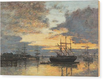 Bordeaux In The Harbor Wood Print by Eugene Louis Boudin