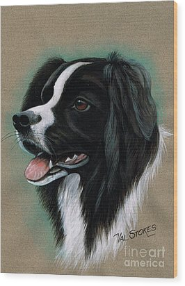Border Collie Wood Print by Val Stokes