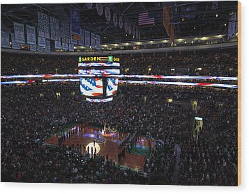 Boston Celtics Under The Star Spangled Banner Wood Print by Juergen Roth