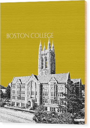 Boston College - Gold Wood Print by DB Artist