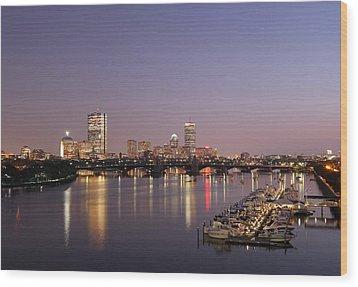 Boston Landmarks At Twilight Wood Print by Juergen Roth