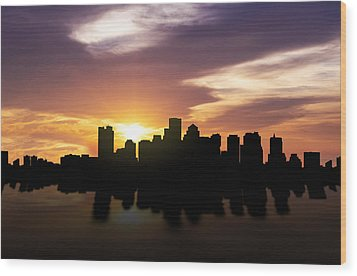 Boston Sunset Skyline  Wood Print by Aged Pixel