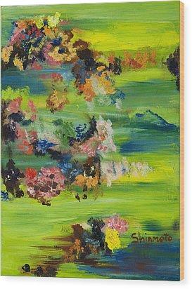 Boughs Green Wood Print by Vanessa Shinmoto