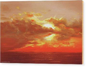 Bound Of Glory - Red Sunset  Wood Print by Gina De Gorna