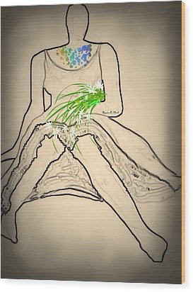 Bouquet-sketch Wood Print by Romaine Head