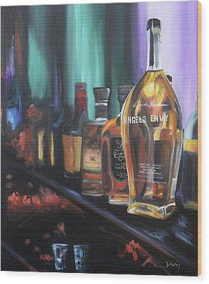 Bourbon Bar Wood Print by Donna Tuten