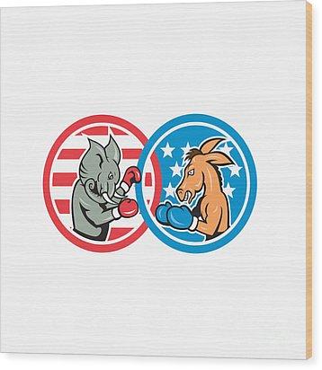Boxing Democrat Donkey Versus Republican Elephant Mascot Wood Print by Aloysius Patrimonio