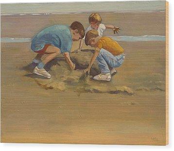 Boys In The Sand Wood Print by Sue  Darius