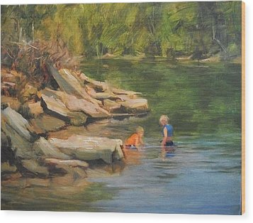 Boys Playing In The Creek Wood Print by Margaret Aycock