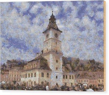 Brasov City Hall Wood Print by Jeff Kolker