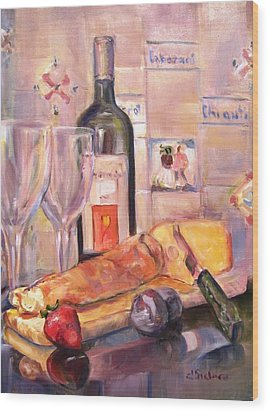 Bread And Wine Wood Print by Dorothy Siclare