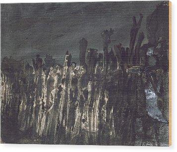 Breakwater In Jersey Wood Print by Victor Hugo