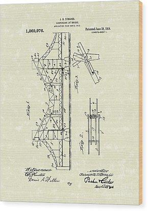 Bridge 1918 Patent Art Wood Print by Prior Art Design