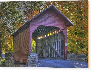 Bridge To The Past Roddy Road Covered Bridge-a1 Autumn Frederick County Maryland Wood Print by Michael Mazaika
